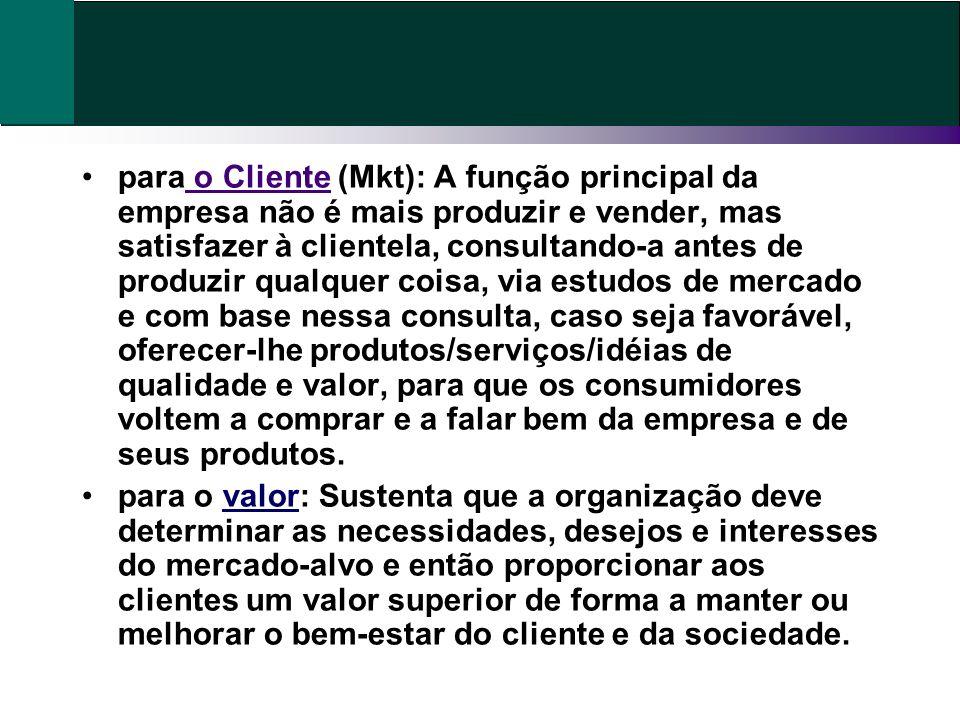 para o Cliente (Mkt): A função principal da empresa não é mais produzir e vender, mas satisfazer à clientela, consultando-a antes de produzir qualquer