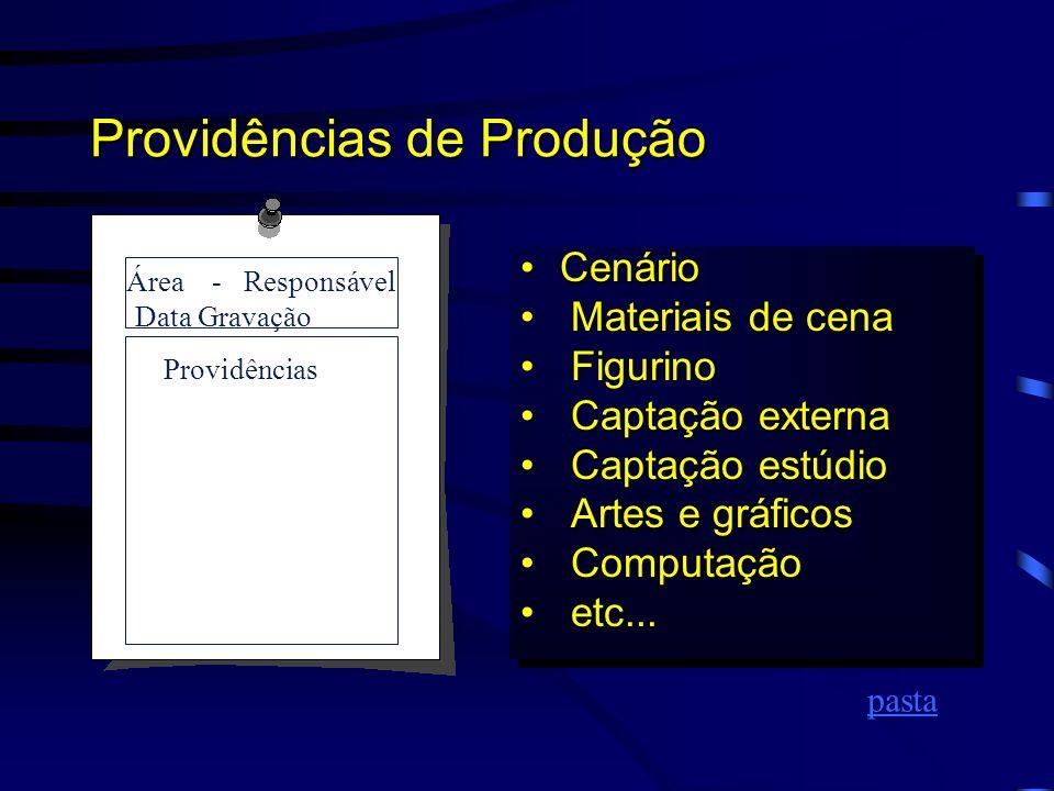 A Produção Área - Responsável Data Gravação Providências