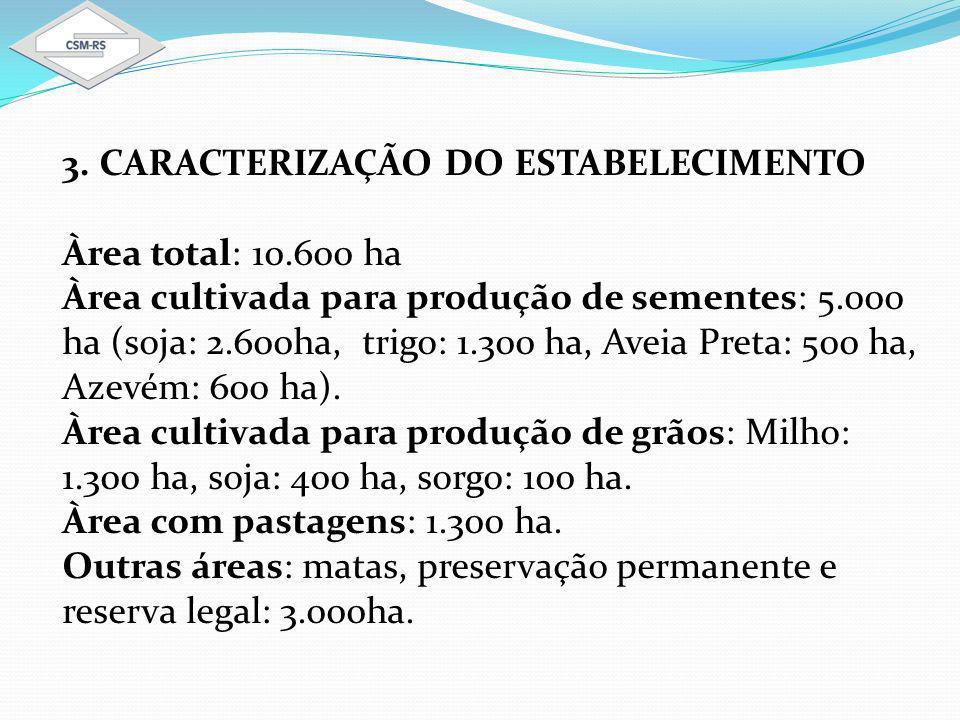 3. CARACTERIZAÇÃO DO ESTABELECIMENTO Àrea total: 10.600 ha Àrea cultivada para produção de sementes: 5.000 ha (soja: 2.600ha, trigo: 1.300 ha, Aveia P
