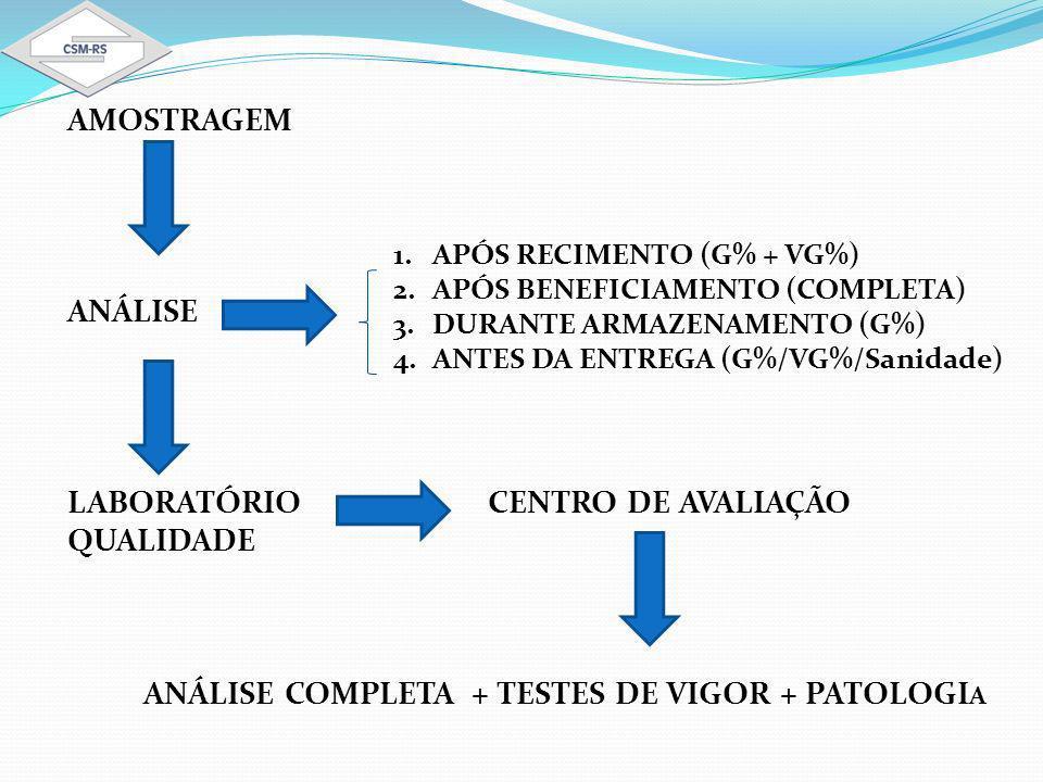AMOSTRAGEM ANÁLISE LABORATÓRIO CENTRO DE AVALIAÇÃO QUALIDADE ANÁLISE COMPLETA + TESTES DE VIGOR + PATOLOGI A 1.APÓS RECIMENTO (G% + VG%) 2.APÓS BENEFICIAMENTO (COMPLETA) 3.DURANTE ARMAZENAMENTO (G%) 4.ANTES DA ENTREGA (G%/VG%/Sanidade)