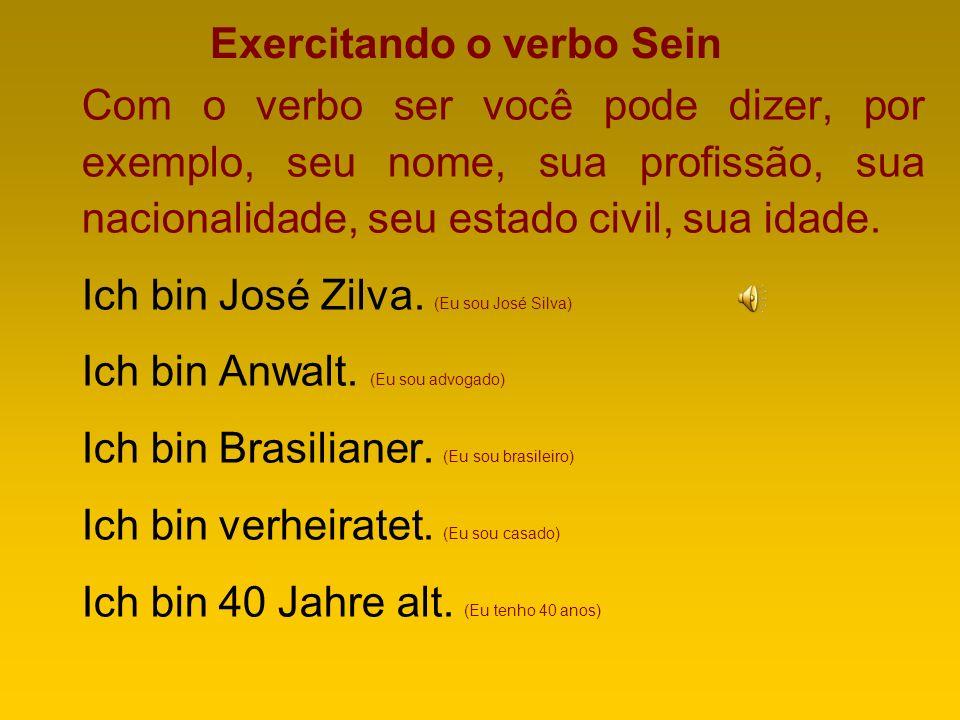 O VERBO SEIN (SER ou ESTAR) Importantíssimo em qualquer língua. O sein se traduz de duas maneiras para o português: ser e estar. Assim posso dizer Ich
