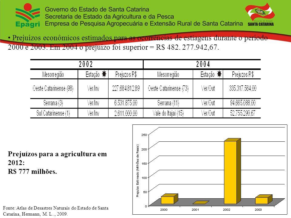 Prejuízos econômicos estimados para as ocorrências de estiagens durante o período 2000 e 2003. Em 2004 o prejuízo foi superior = R$ 482. 277.942,67. F
