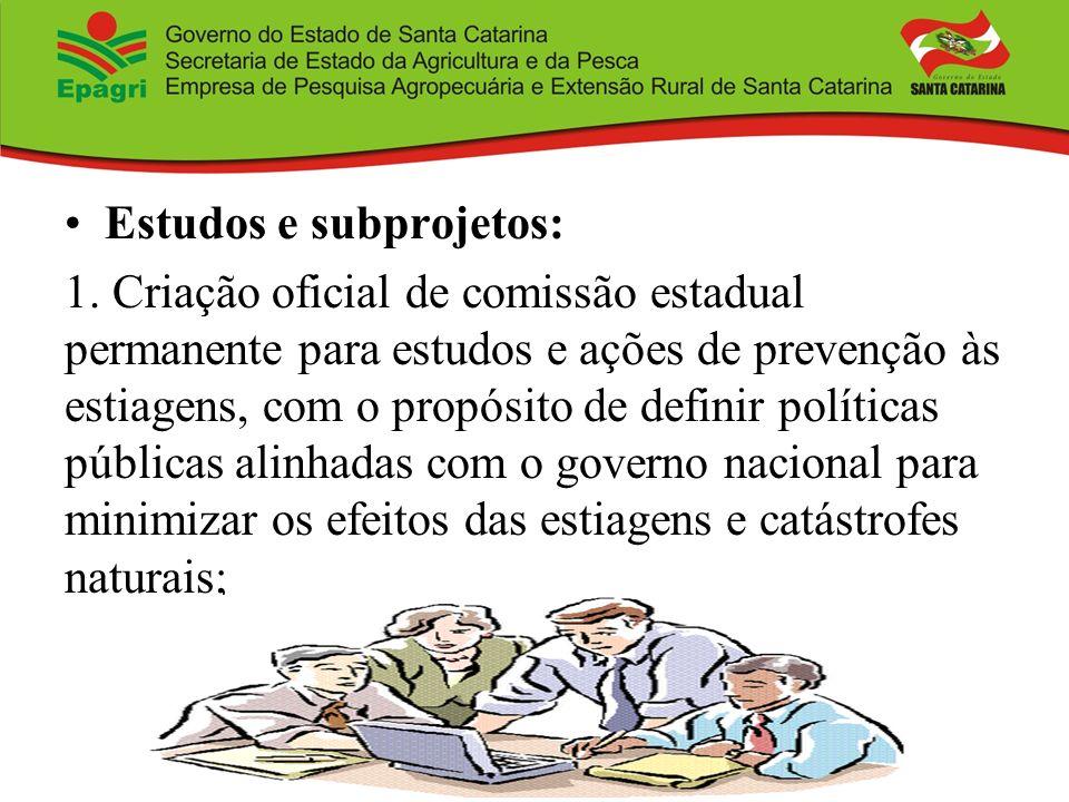 Estudos e subprojetos: 1. Criação oficial de comissão estadual permanente para estudos e ações de prevenção às estiagens, com o propósito de definir p
