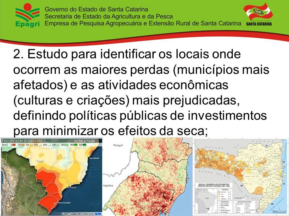 2. Estudo para identificar os locais onde ocorrem as maiores perdas (municípios mais afetados) e as atividades econômicas (culturas e criações) mais p