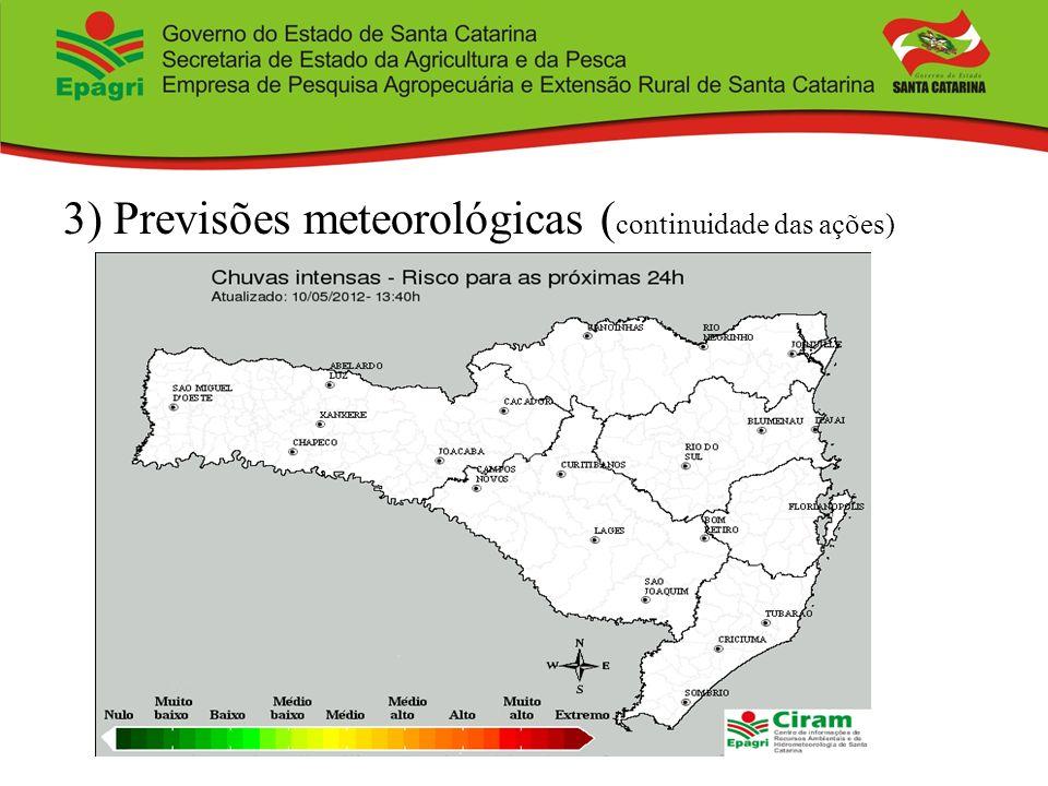 3) Previsões meteorológicas ( continuidade das ações)