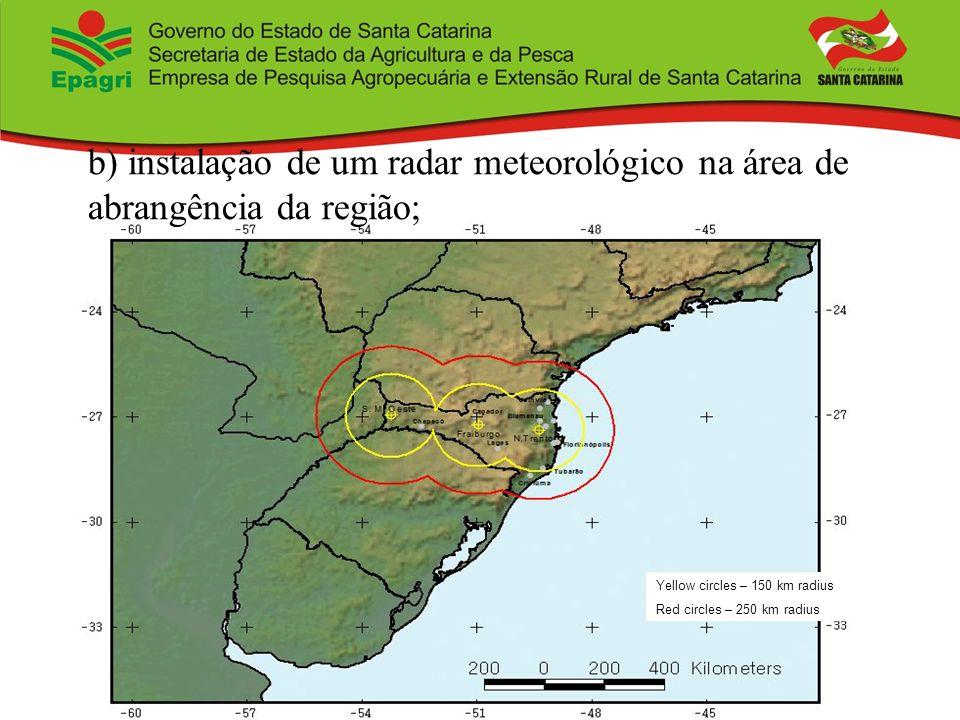 Yellow circles – 150 km radius Red circles – 250 km radius b) instalação de um radar meteorológico na área de abrangência da região;