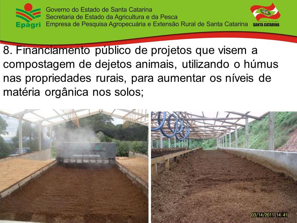 8. Financiamento público de projetos que visem a compostagem de dejetos animais, utilizando o húmus nas propriedades rurais, para aumentar os níveis d