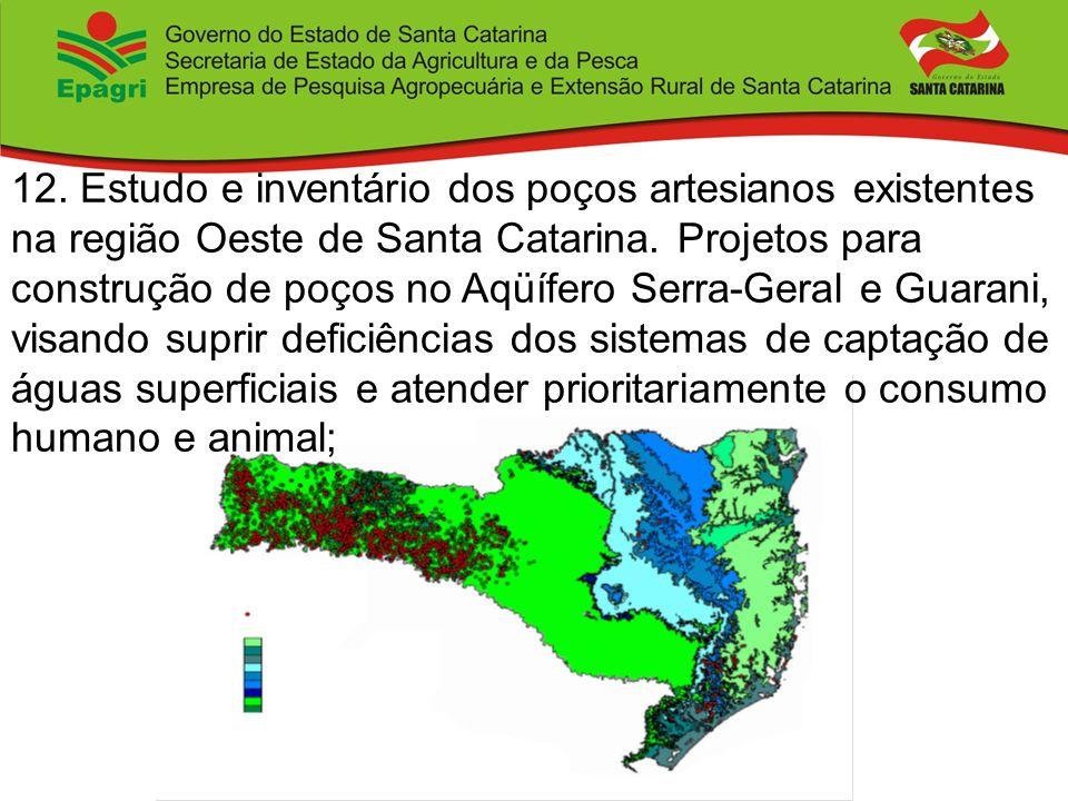 12. Estudo e inventário dos poços artesianos existentes na região Oeste de Santa Catarina. Projetos para construção de poços no Aqüífero Serra-Geral e