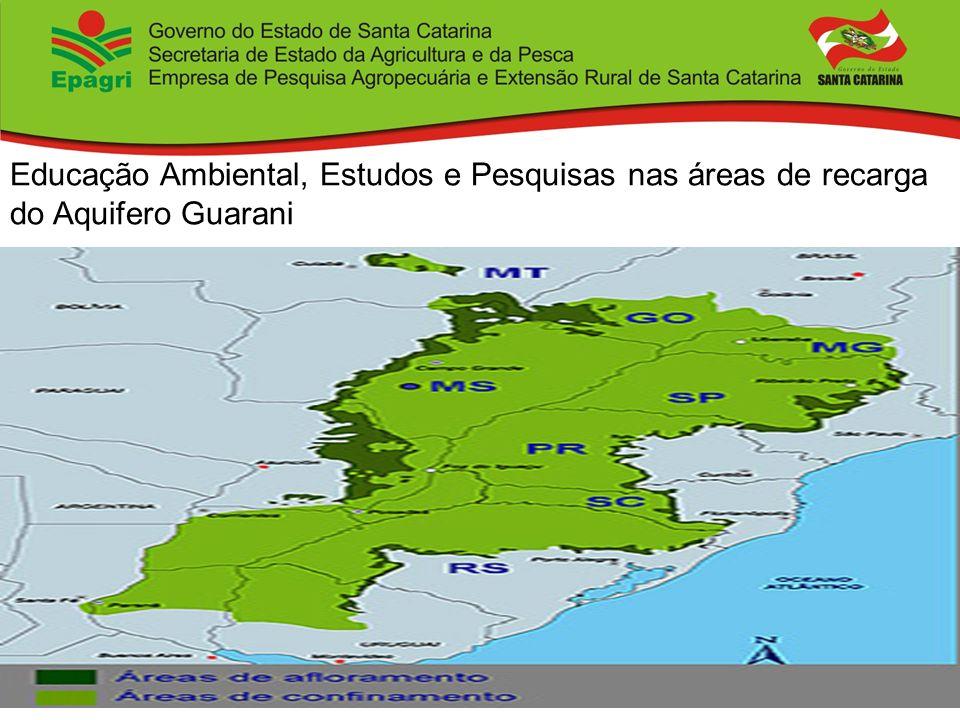 Educação Ambiental, Estudos e Pesquisas nas áreas de recarga do Aquifero Guarani