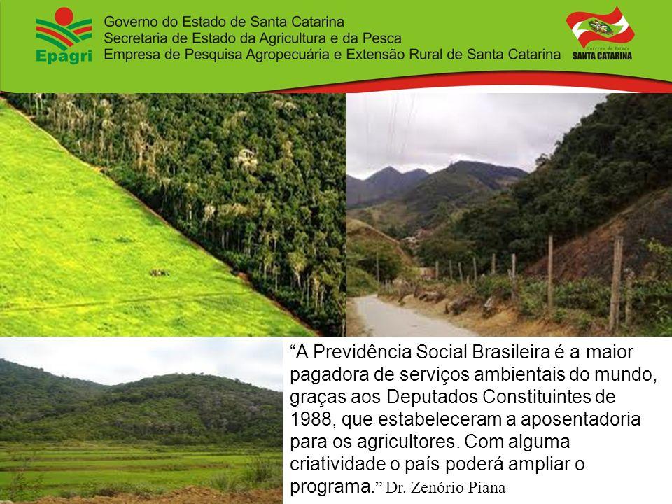 A Previdência Social Brasileira é a maior pagadora de serviços ambientais do mundo, graças aos Deputados Constituintes de 1988, que estabeleceram a ap