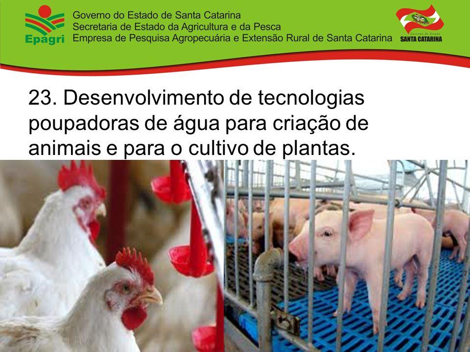 23. Desenvolvimento de tecnologias poupadoras de água para criação de animais e para o cultivo de plantas.