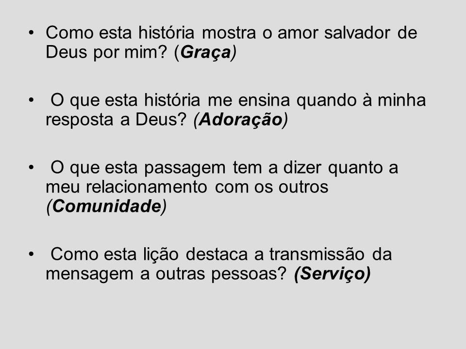 Como esta história mostra o amor salvador de Deus por mim? (Graça) O que esta história me ensina quando à minha resposta a Deus? (Adoração) O que esta
