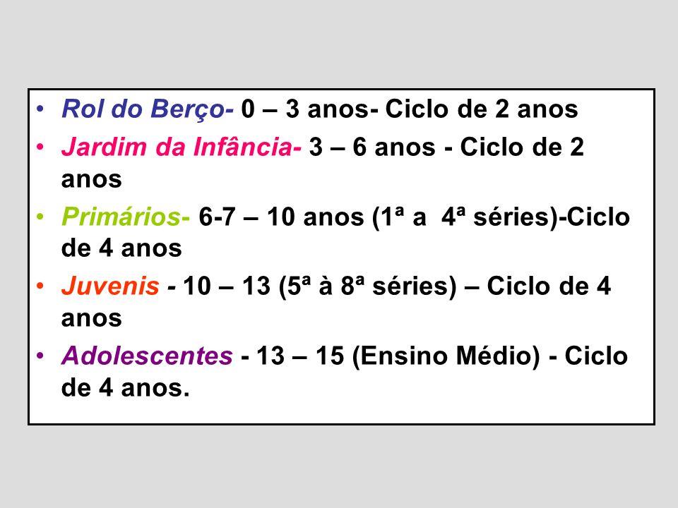 Rol do Berço- 0 – 3 anos- Ciclo de 2 anos Jardim da Infância- 3 – 6 anos - Ciclo de 2 anos Primários- 6-7 – 10 anos (1ª a 4ª séries)-Ciclo de 4 anos J