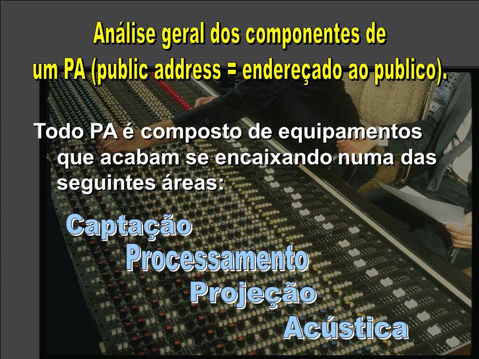 Todo PA é composto de equipamentos que acabam se encaixando numa das seguintes áreas: