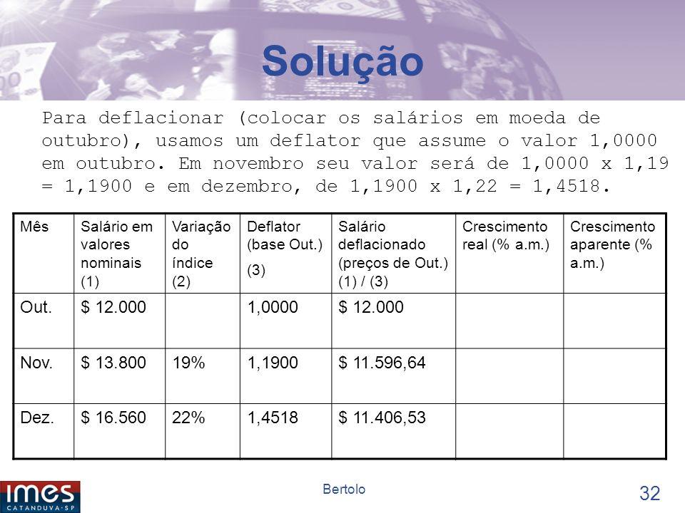 31 Bertolo EXEMPLO No último trimestre do ano, o salário nominal de um operário, recebido no último dia de cada mês, foi o seguinte: outubro = $ 12.000; novembro = $ 13.800; dezembro = $ 16.560.