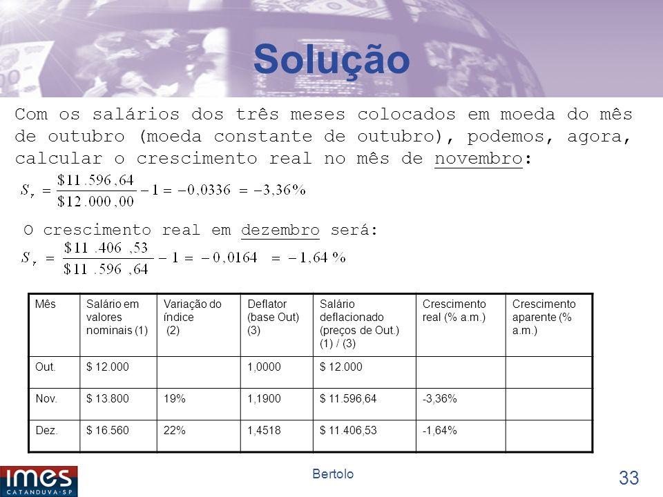 32 Bertolo Solução Para deflacionar (colocar os salários em moeda de outubro), usamos um deflator que assume o valor 1,0000 em outubro. Em novembro se