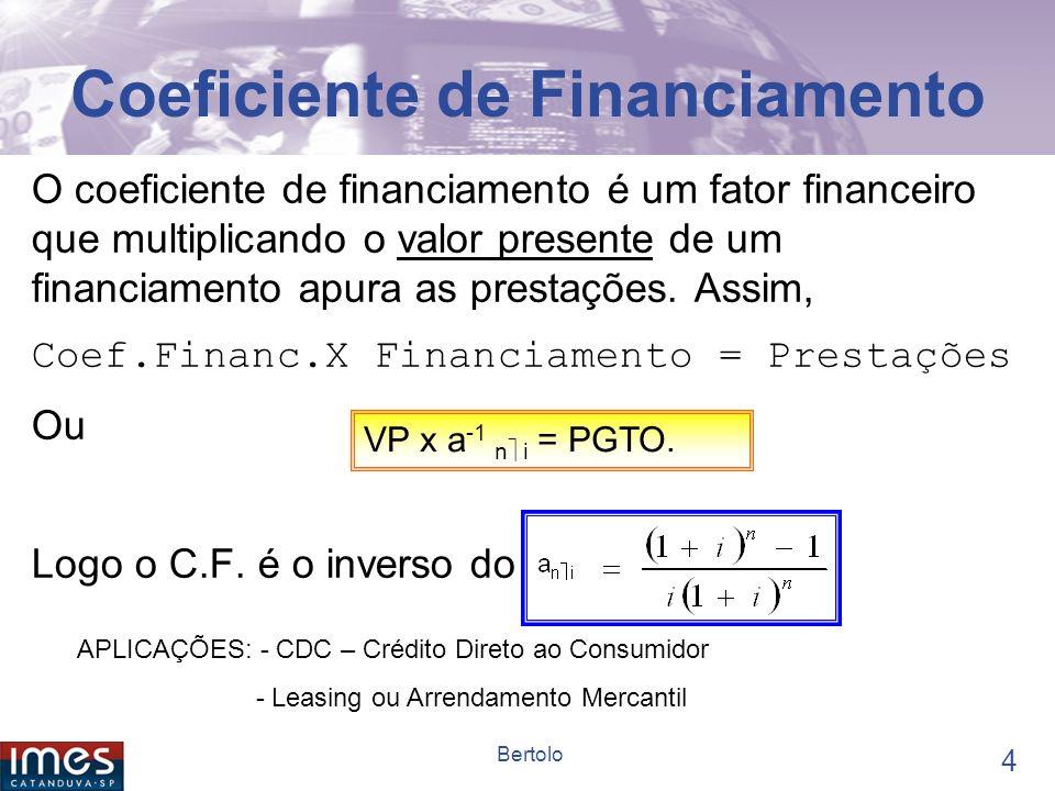 3 Bertolo O que veremos hoje Coeficiente de Financiamento Série Gradiente Perpetuidade Inflação e Taxa Real