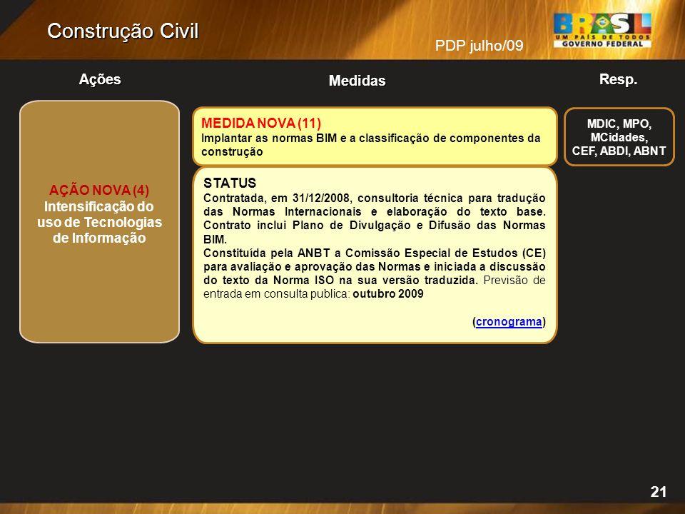 MEDIDA NOVA (11) Implantar as normas BIM e a classificação de componentes da construção STATUS Contratada, em 31/12/2008, consultoria técnica para tradução das Normas Internacionais e elaboração do texto base.