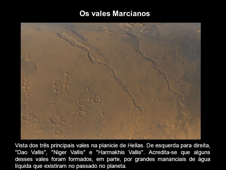 Vista dos três principais vales na planicie de Hellas. De esquerda para direita,