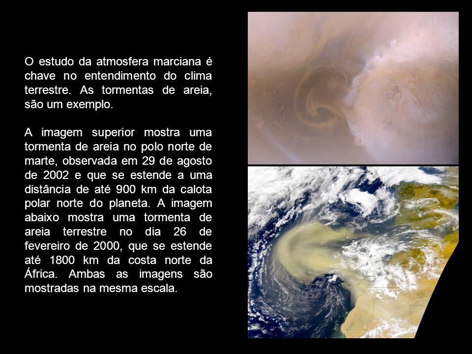 O estudo da atmosfera marciana é chave no entendimento do clima terrestre. As tormentas de areia, são um exemplo. A imagem superior mostra uma torment