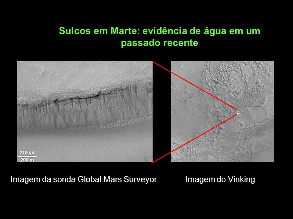 Sulcos em Marte: evidência de água em um passado recente Imagem da sonda Global Mars Surveyor. Imagem do Vinking