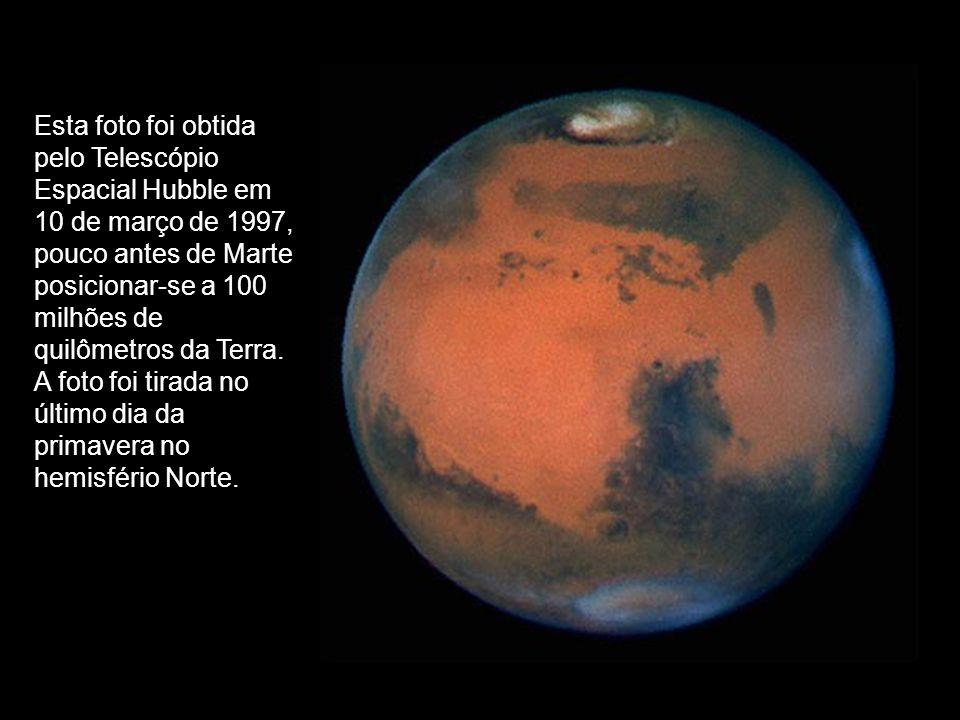 Esta foto foi obtida pelo Telescópio Espacial Hubble em 10 de março de 1997, pouco antes de Marte posicionar-se a 100 milhões de quilômetros da Terra.