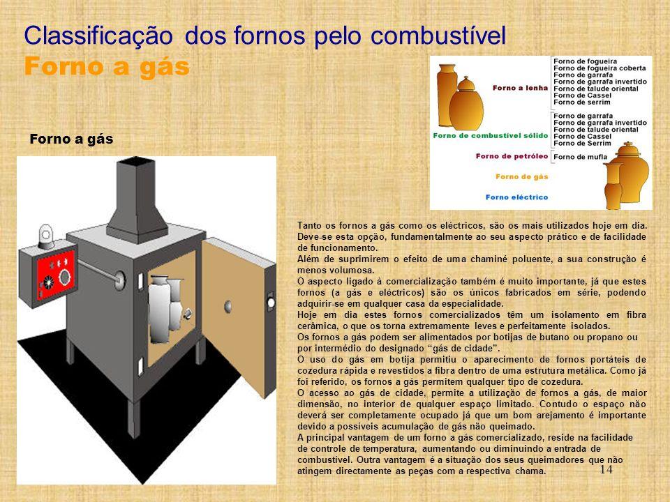 14 Tanto os fornos a gás como os eléctricos, são os mais utilizados hoje em dia. Deve-se esta opção, fundamentalmente ao seu aspecto prático e de faci