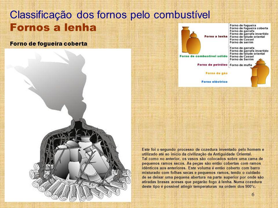 6 Classificação dos fornos pelo combustível Fornos a lenha Este foi o segundo processo de cozedura inventado pelo homem e utilizado até ao início da c