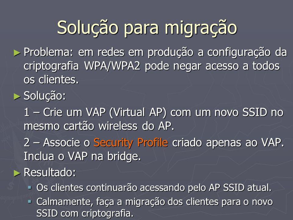 Solução para migração Problema: em redes em produção a configuração da criptografia WPA/WPA2 pode negar acesso a todos os clientes. Problema: em redes