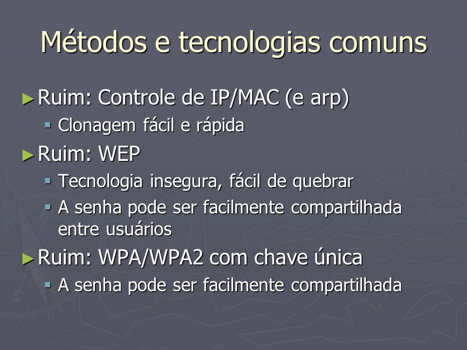 Métodos e tecnologias comuns Ruim: Controle de IP/MAC (e arp) Ruim: Controle de IP/MAC (e arp) Clonagem fácil e rápida Clonagem fácil e rápida Ruim: W