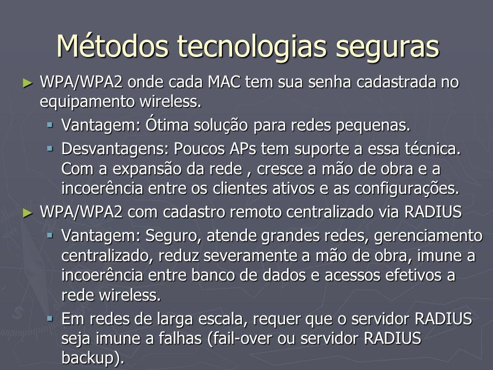 Métodos tecnologias seguras WPA/WPA2 onde cada MAC tem sua senha cadastrada no equipamento wireless. WPA/WPA2 onde cada MAC tem sua senha cadastrada n