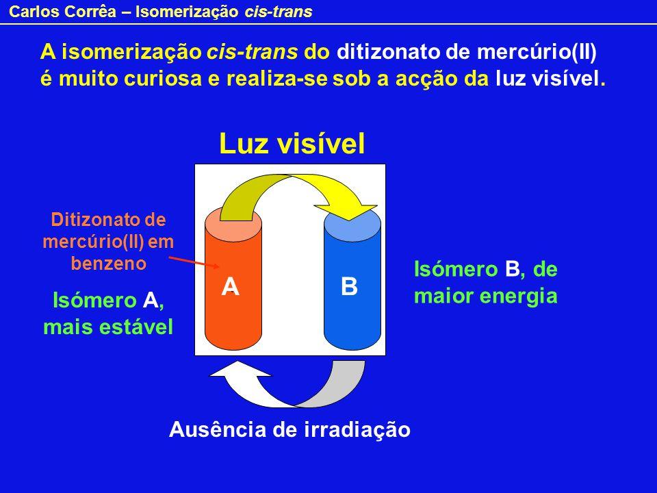 Carlos Corrêa – Isomerização cis-trans A isomerização cis-trans do ditizonato de mercúrio(II) é muito curiosa e realiza-se sob a acção da luz visível.