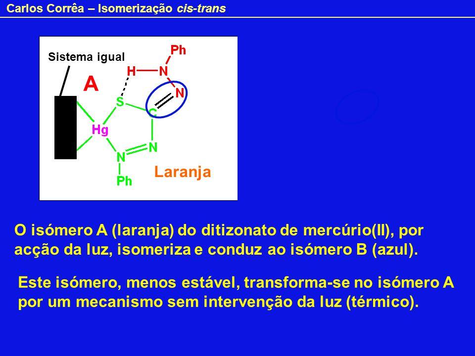 Carlos Corrêa – Isomerização cis-trans O isómero A (laranja) do ditizonato de mercúrio(II), por acção da luz, isomeriza e conduz ao isómero B (azul).