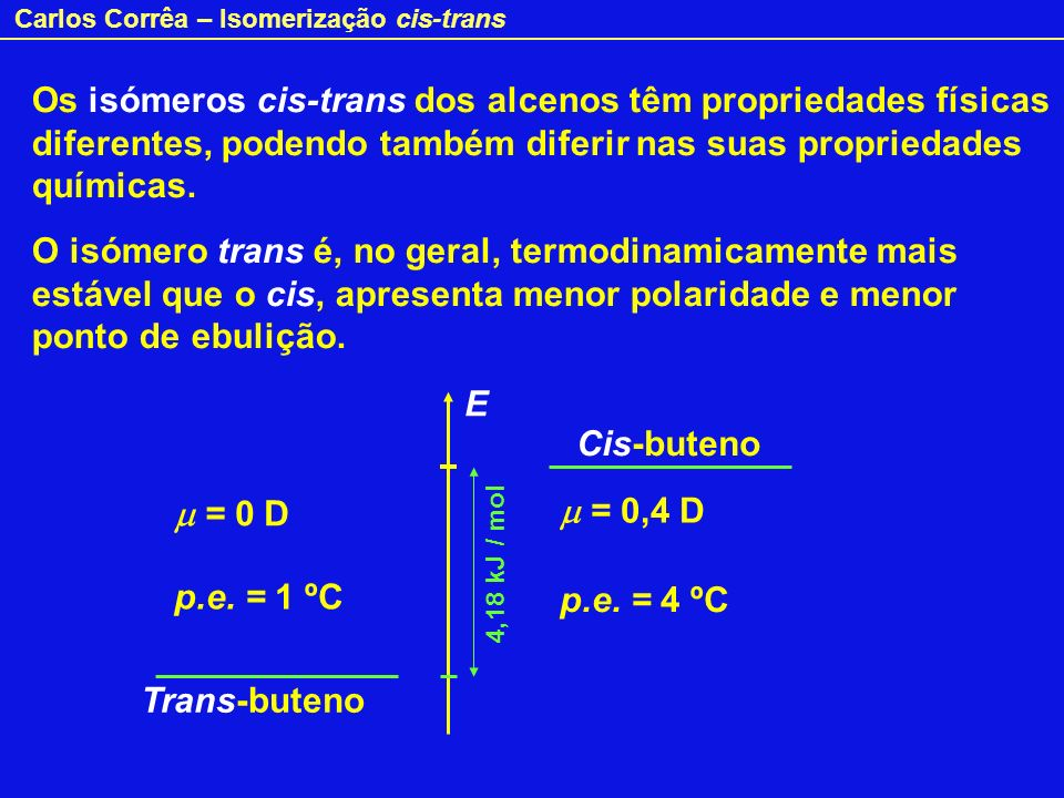 Carlos Corrêa – Isomerização cis-trans O isómero trans é, no geral, mais facilmente empacotável no estado sólido, apresentando maior ponto de fusão (maior dificuldade para separar as moléculas no cristal).