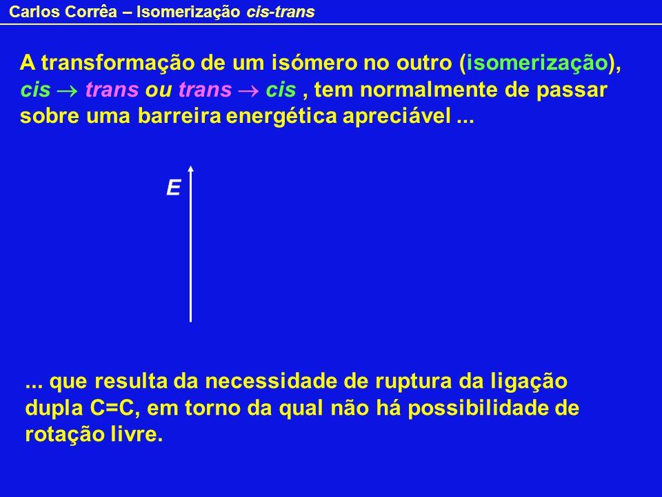 Carlos Corrêa – Isomerização cis-trans A transformação de um isómero no outro (isomerização), cis trans ou trans cis, tem normalmente de passar sobre