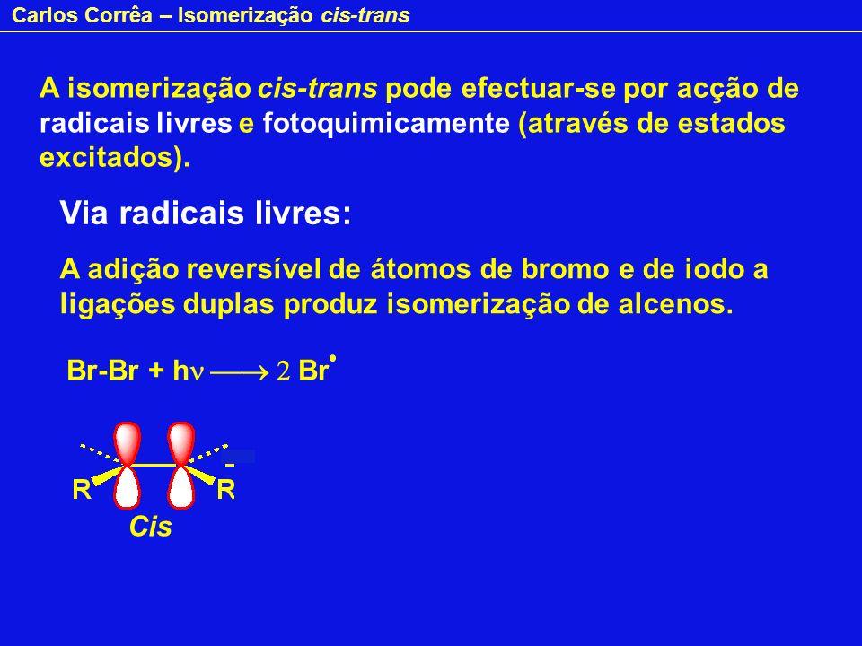 Carlos Corrêa – Isomerização cis-trans E pzpz pzpz E E + E Estado excitado Quando um alceno é irradiado com luz de frequência apropriada,, absorve a energia do fotão ( E = h ) e um electrão passa da orbital para a orbital *.