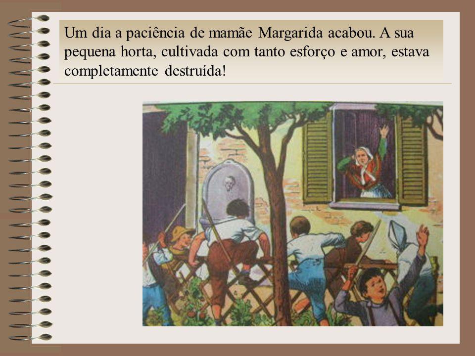Um dia a paciência de mamãe Margarida acabou. A sua pequena horta, cultivada com tanto esforço e amor, estava completamente destruída!