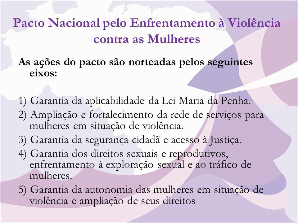 Pacto Nacional pelo Enfrentamento à Violência contra as Mulheres As ações do pacto são norteadas pelos seguintes eixos: 1) Garantia da aplicabilidade da Lei Maria da Penha.