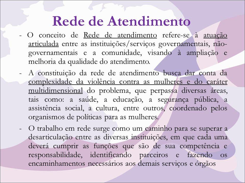 Rede de Atendimento - O conceito de Rede de atendimento refere-se à atuação articulada entre as instituições/serviços governamentais, não- governamentais e a comunidade, visando à ampliação e melhoria da qualidade do atendimento.