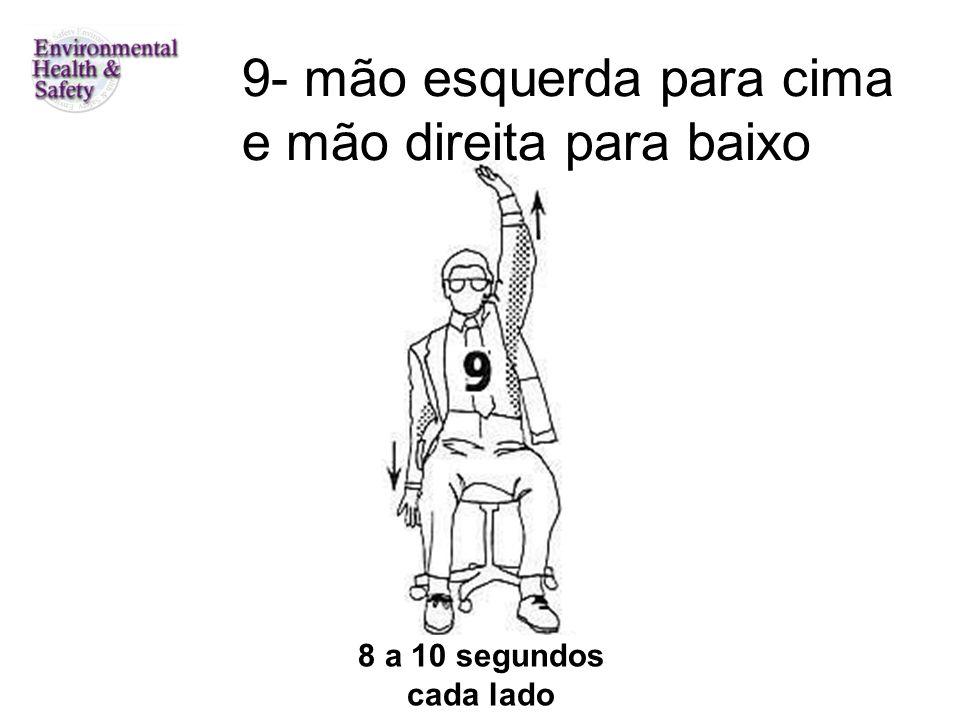 8 a 10 segundos cada lado 9- mão esquerda para cima e mão direita para baixo
