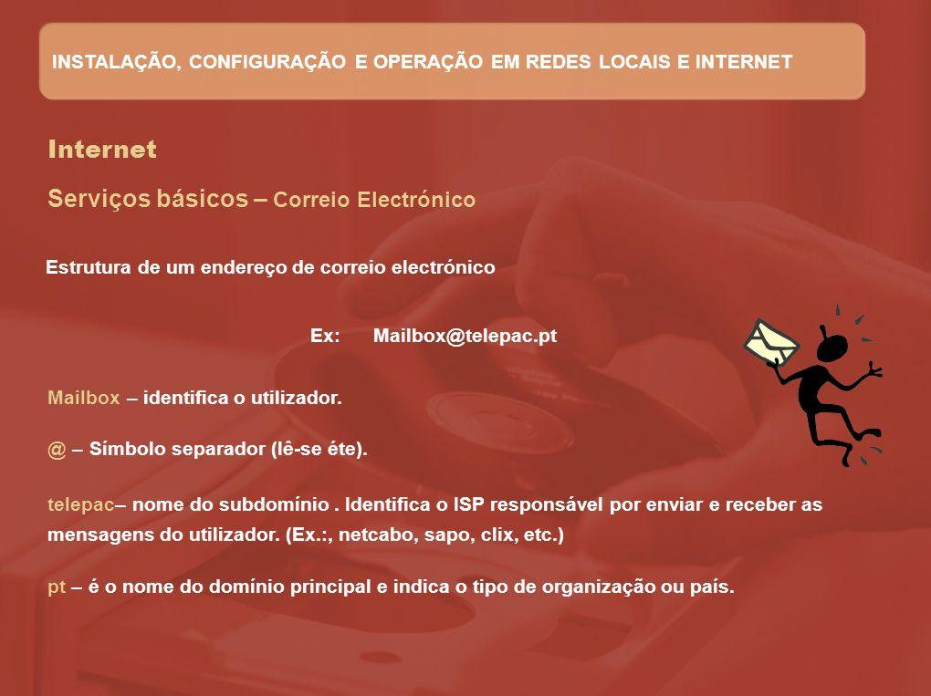 Internet Serviços básicos – Correio Electrónico Ex: Mailbox@telepac.pt Mailbox – identifica o utilizador. @ – Símbolo separador (lê-se éte). telepac–