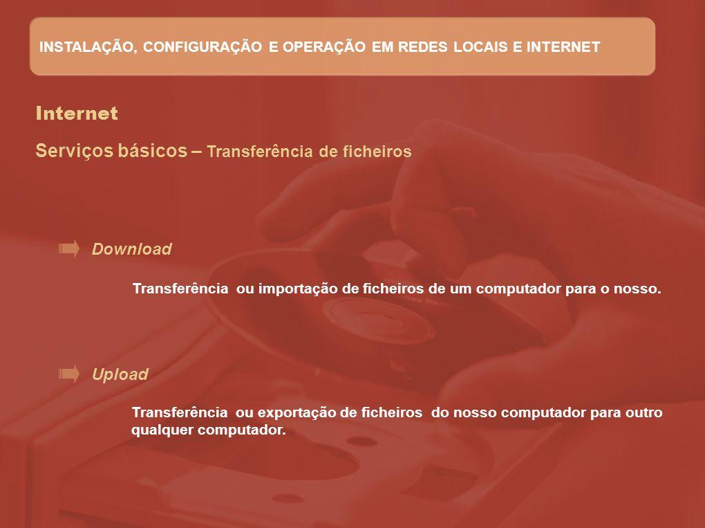 Internet Serviços básicos – Transferência de ficheiros Download Upload Transferência ou importação de ficheiros de um computador para o nosso. Transfe