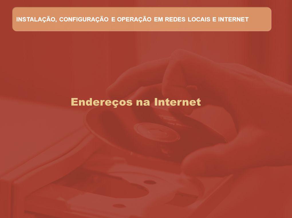 Endereços na Internet INSTALAÇÃO, CONFIGURAÇÃO E OPERAÇÃO EM REDES LOCAIS E INTERNET