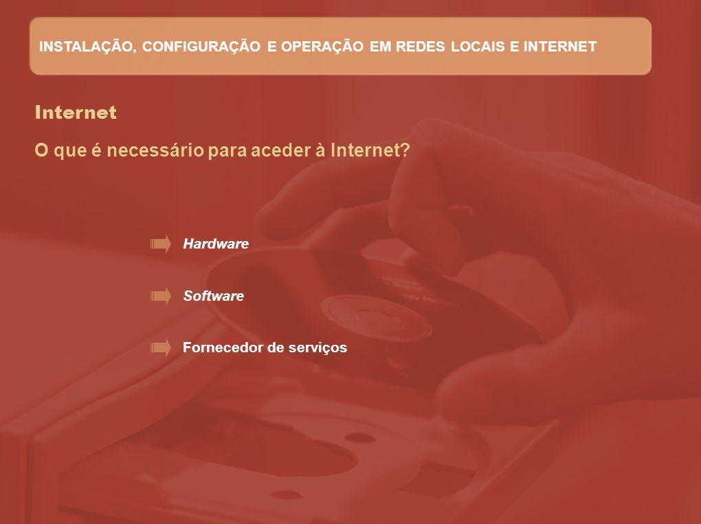Internet O que é necessário para aceder à Internet? Hardware Software Fornecedor de serviços INSTALAÇÃO, CONFIGURAÇÃO E OPERAÇÃO EM REDES LOCAIS E INT