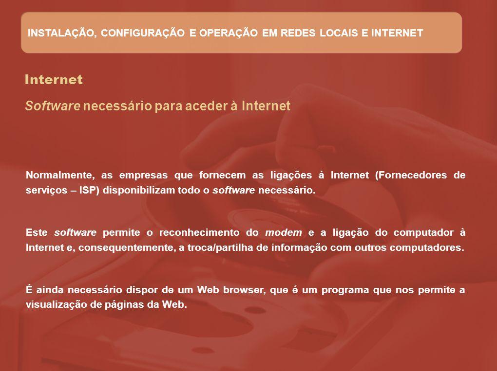 Internet Normalmente, as empresas que fornecem as ligações à Internet (Fornecedores de serviços – ISP) disponibilizam todo o software necessário. Este