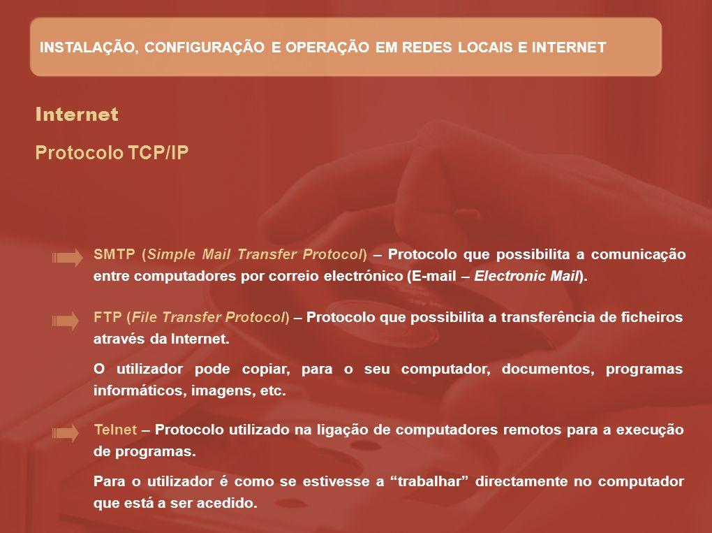 Internet Protocolo TCP/IP FTP (File Transfer Protocol) – Protocolo que possibilita a transferência de ficheiros através da Internet. O utilizador pode