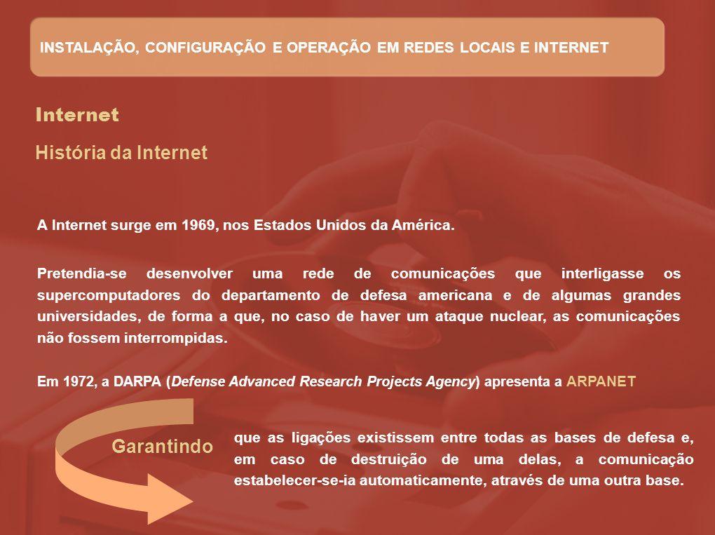 Internet A janela do Internet Explorer - IE Barra de título Barra de menus Barra de ferramentas Padrão Barra de endereços Barra do Explorer Painel do browser Barra de estado INSTALAÇÃO, CONFIGURAÇÃO E OPERAÇÃO EM REDES LOCAIS E INTERNET