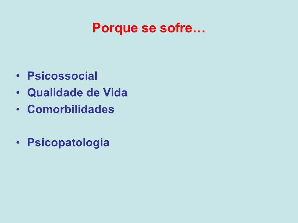 Porque se sofre… Psicossocial Qualidade de Vida Comorbilidades Psicopatologia