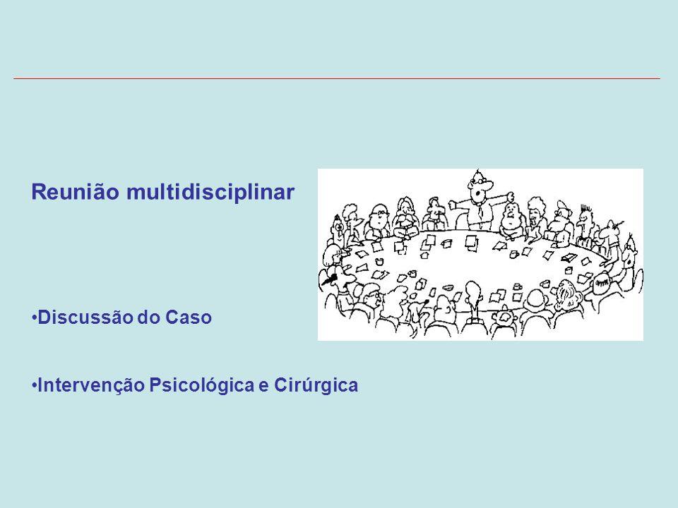 Reunião multidisciplinar Discussão do Caso Intervenção Psicológica e Cirúrgica