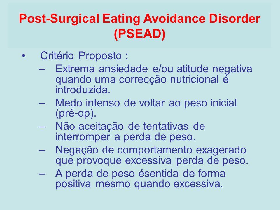 Critério Proposto : –Extrema ansiedade e/ou atitude negativa quando uma correcção nutricional é introduzida. –Medo intenso de voltar ao peso inicial (